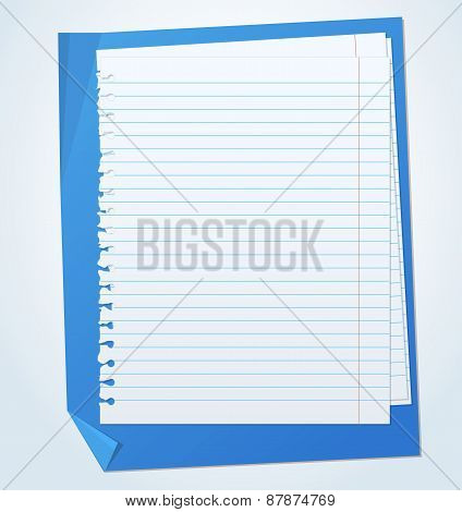 Lined exercise sheets and sheet of blue paper with crumpled edges
