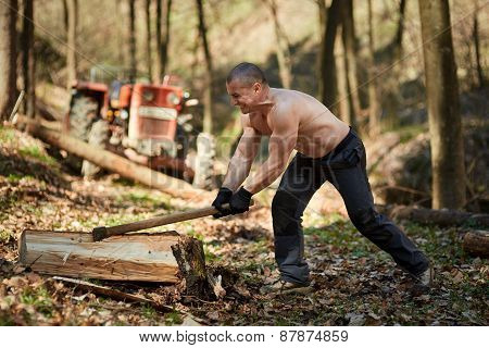 Strong Man Splitting Logs