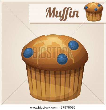 Muffin with blueberry. Detailed Vector Icon