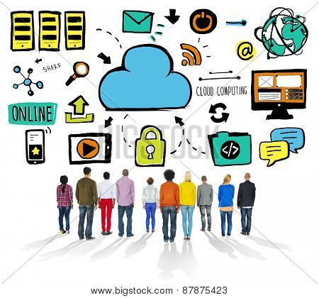 Diversity Casual People Cloud Computing Searching Team Concept