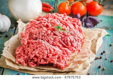 Fresh Raw Ground Beef On A Paper