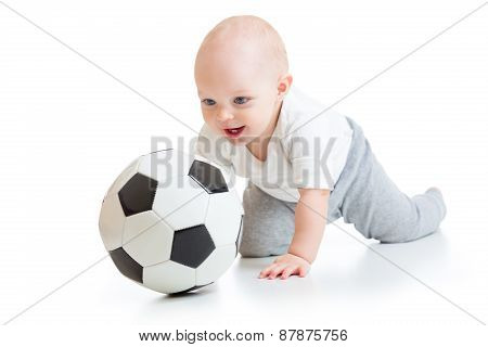 adorable kid with football over white background