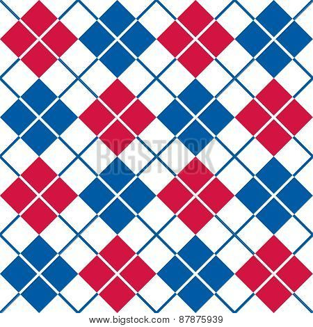 Argyle Pattern in Red, White and Blue