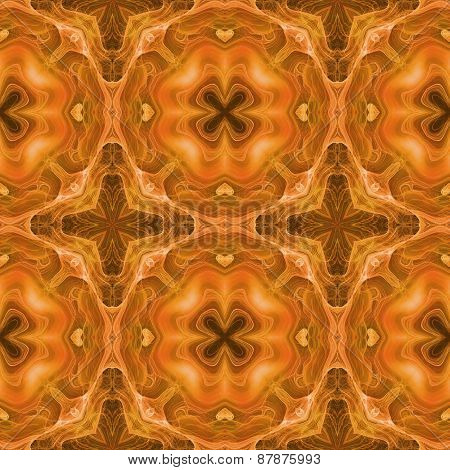 Seamless Kaleidoscope Texture Or Pattern In Orange Spectrum 1