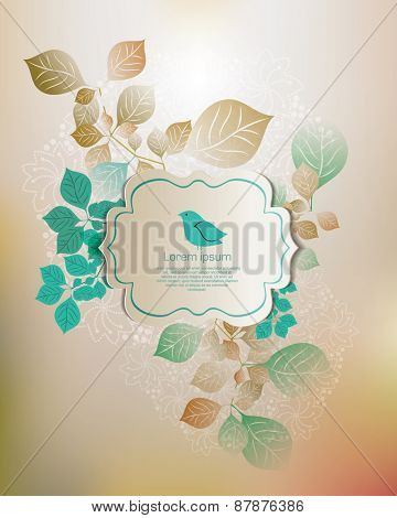Vintage vector card with bird