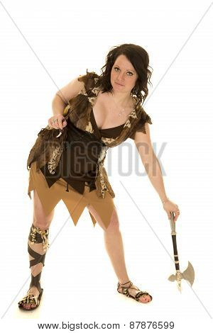 Cave Woman With Hatchet Down