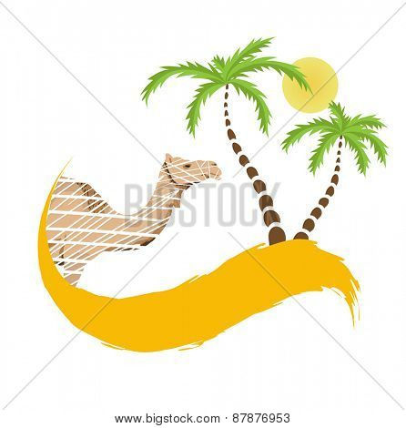 Camel and palm tree in the desert, vector illustration