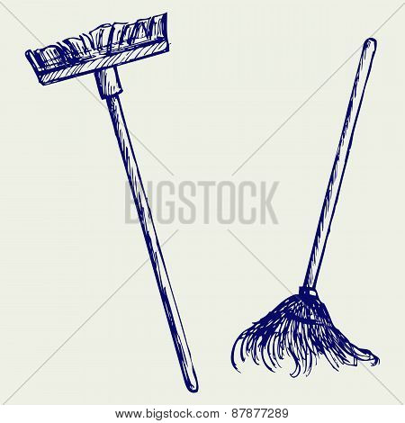 Mop and broom