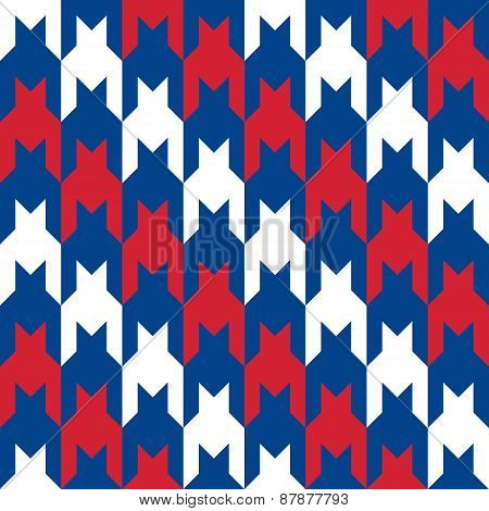Diagonal Houndstooth in Red, White and Blue