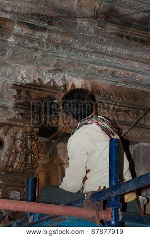 Worker Restores The Temple In Khajuraho