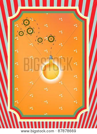 Colorful, striped business card with pattern, hanging, yellow, orange lightbulb, cogwheels