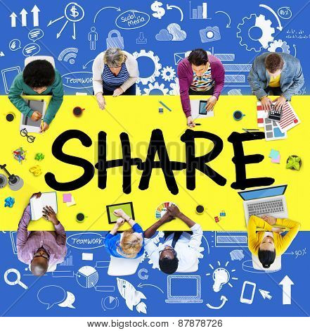Share Sharing Connection Online Communication Networking Concept