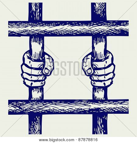 Hands of the prisoner on lattice