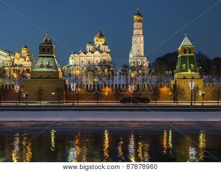 The Moskva River embankment. Kremlin at night.