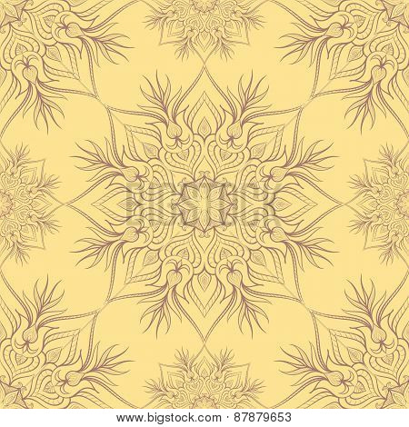 Vintage pattern with linear ornament. Vector