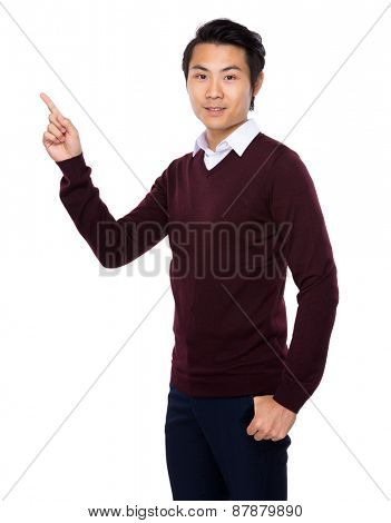 Asian businessman showing finger point up