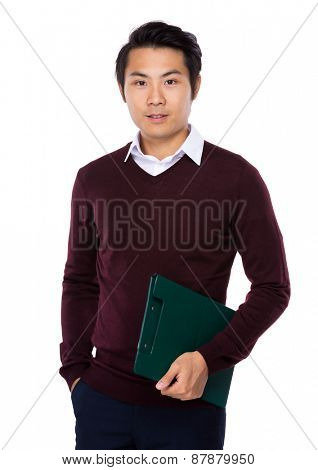 Young attractive businessman hold with clipboard