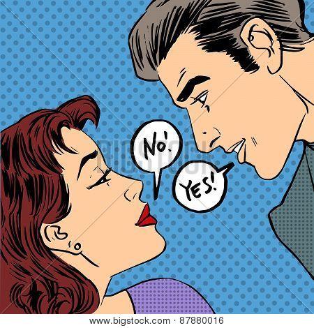 Dispute Men And Women No Yes Pop Art Comics Retro Style Halftone