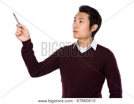 Asian businessman point up with a pen