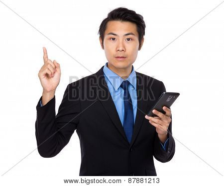 Asian business man with cellphone and finger up