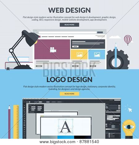 Set of flat design style concepts for graphic and web design