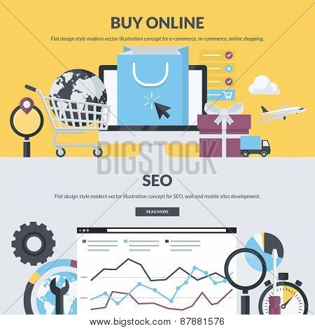 Set of flat design style concepts for online shopping and SEO