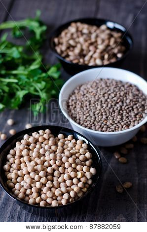 Chickpeas, Beans And Lentils In Bowls
