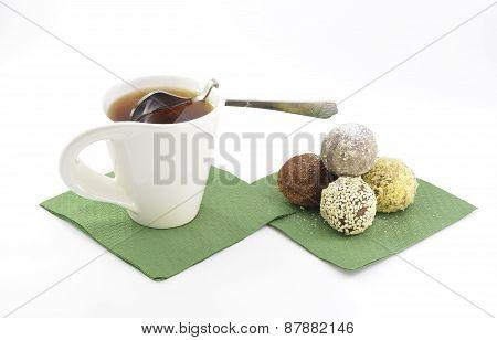 Cake And Tea On A Green Napkin