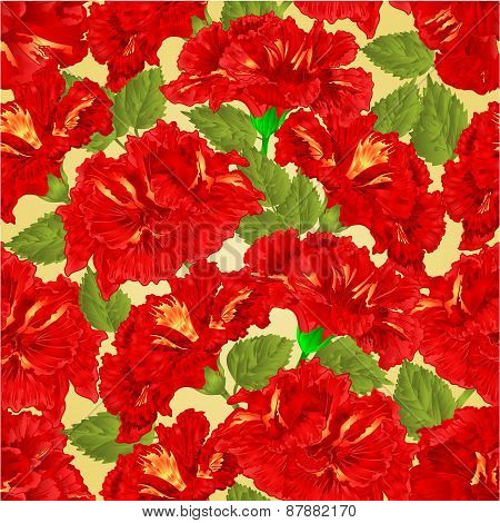 Seamless Texture Red Hibiscus Vector