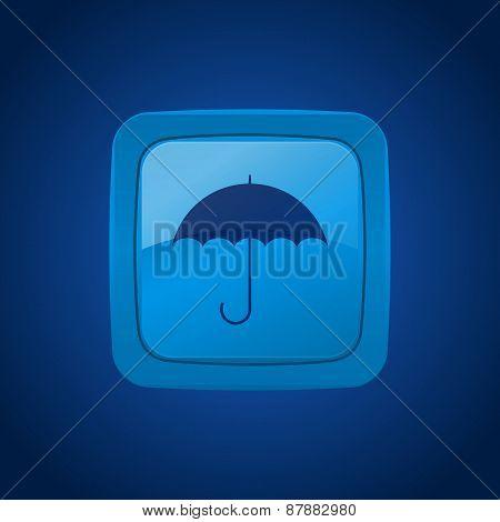 Vector Button With Umbrella.