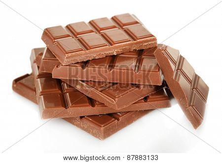 Sweet chocolate isolated on white