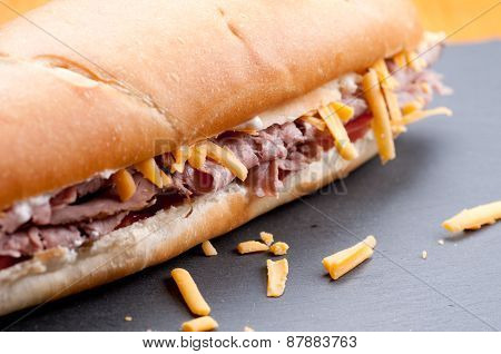 Beef And Cheddar Sandwich With Fries