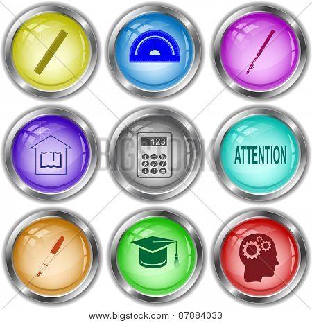 Education set. Raster internet buttons.