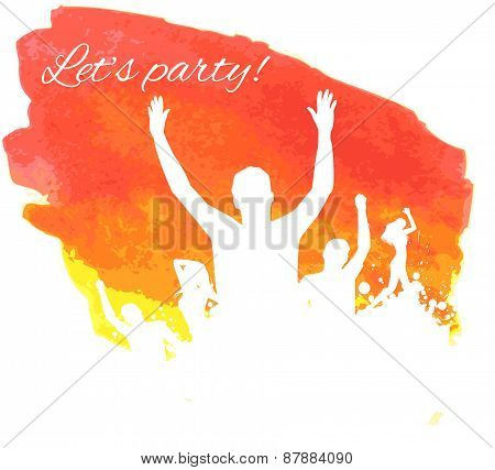 Orange Grunge Watercolored Party Background