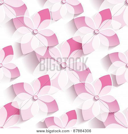 Background Seamless Pattern With Stylized Pink Sakura
