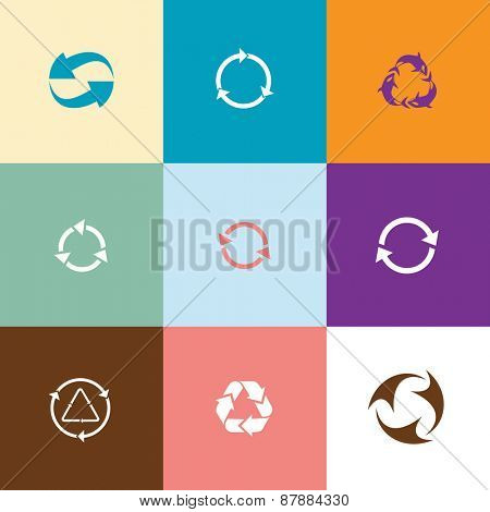 Recycle symbols set. Flat color raster icons.