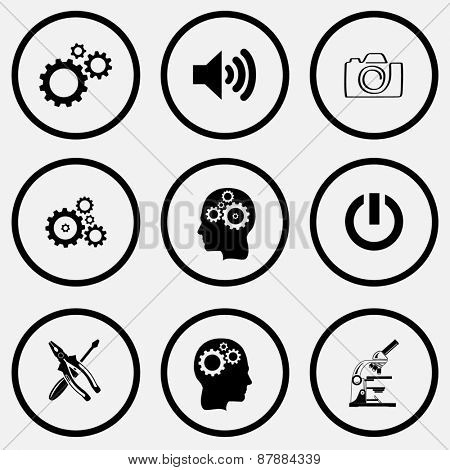 Tehnology set. Black and white set raster icons.
