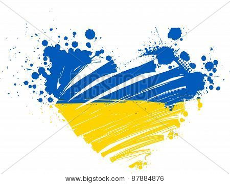 Ukraine Grunge Flag Heart