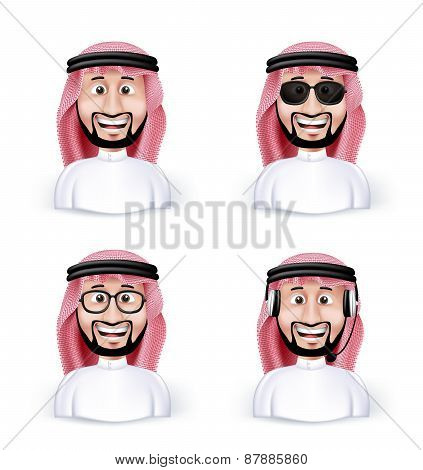 Set of 3D Dimension Saudi Arab Man in Different Professional