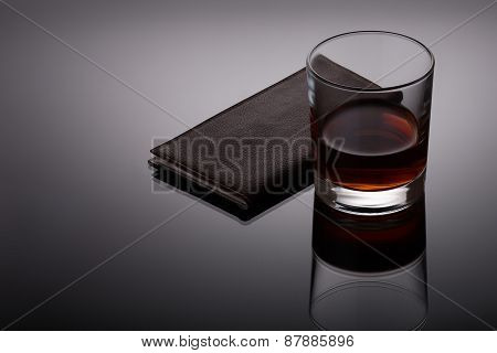 Glass Of Whiskey And A Business Card Holder
