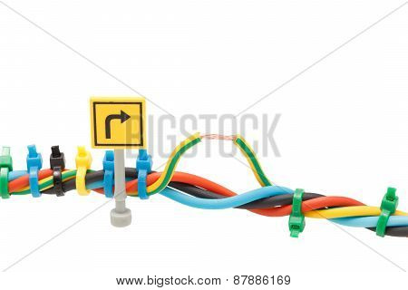 Electrical Wires Fastened Ties Isolated On White Background