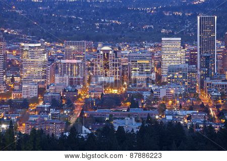 Portland Oregon City Lights And Buildings.
