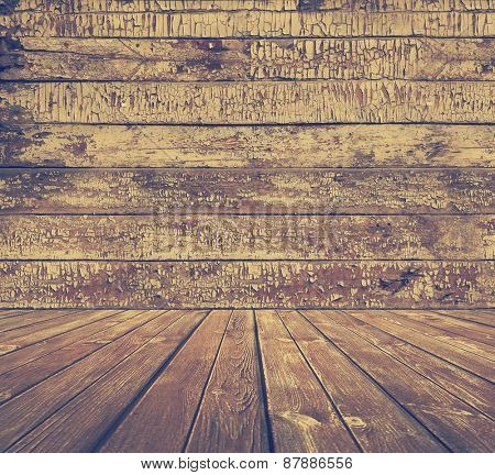 old wooden room, vintage background, retro filtered, instagram style