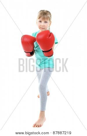 Little girl with boxing gloves isolated on white