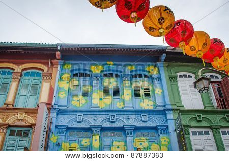 Historic colorful homes in the Chinatown section of Singapore