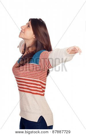 Young casual woman extended her arms isolated on a white background