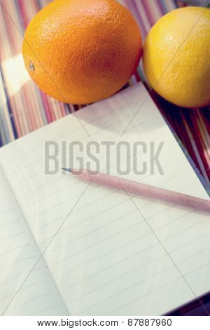 Notebook with fruits