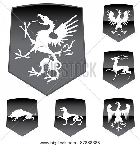 Vector Medieval Shields with Animals.