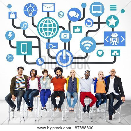 Global Communications Social Networking Togetherness Community Online Concept