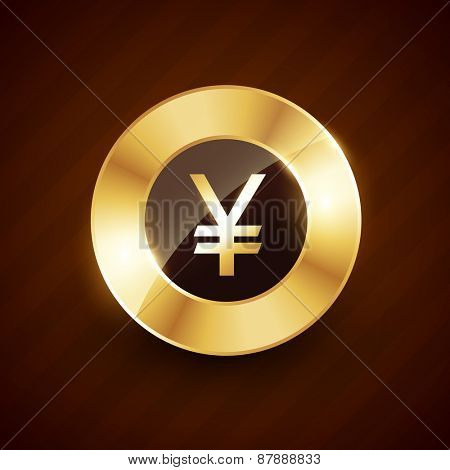 yen golden coin design with shiny effects vector illustration